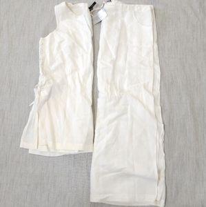Vintage Linen Blend Top and Skirt Set size Large